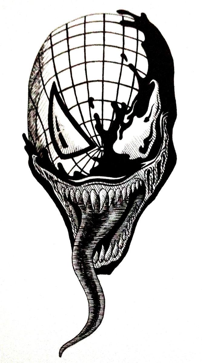 Spiderman Face Line Drawing : Spider man venom by callumdarbyshire on deviantart