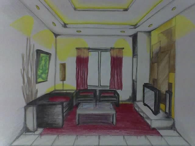 Living Room 2 Point Perspective living room perspective 2deequezon on deviantart