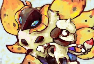 Volcarona and Smeargle by SailorClef