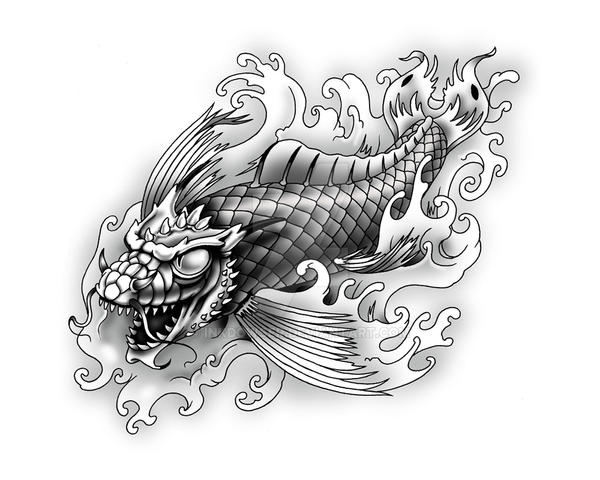 Dragon koi by inkdowser on deviantart for Black dragon koi