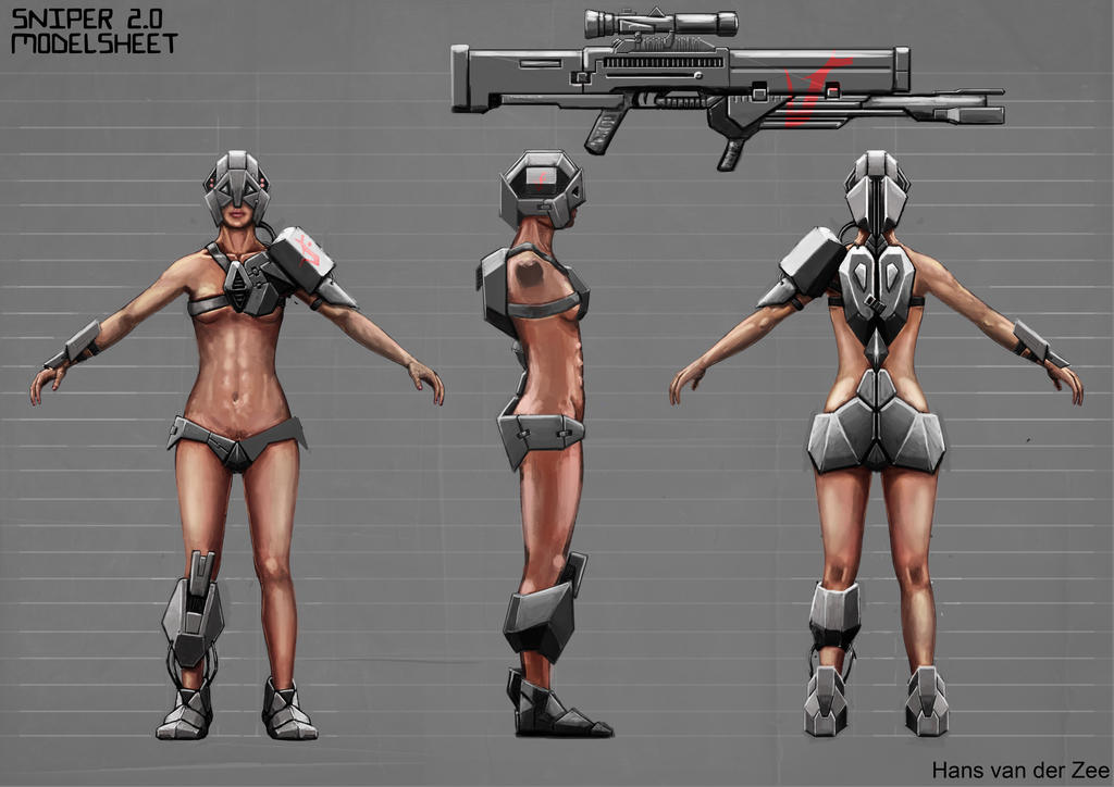 Futuristic Sniper girl modelsheet by EliteRocketbear