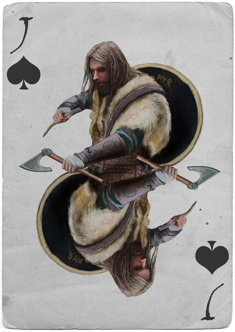 Knight Playing card - Viking Beserker by EliteRocketbear