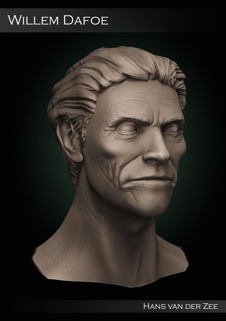 Willem Dafoe Sculpt - Clay render by EliteRocketbear