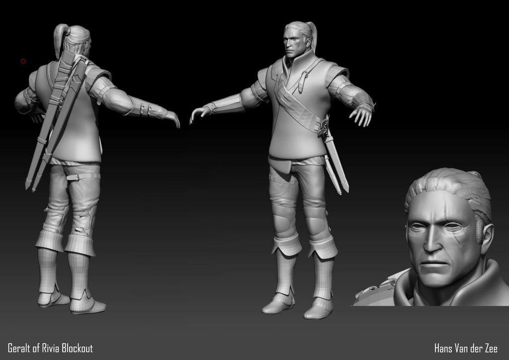 Geralt of Rivia Full body sculpt - Blockout by EliteRocketbear