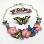 Floral Butterfly Bib Necklace Set