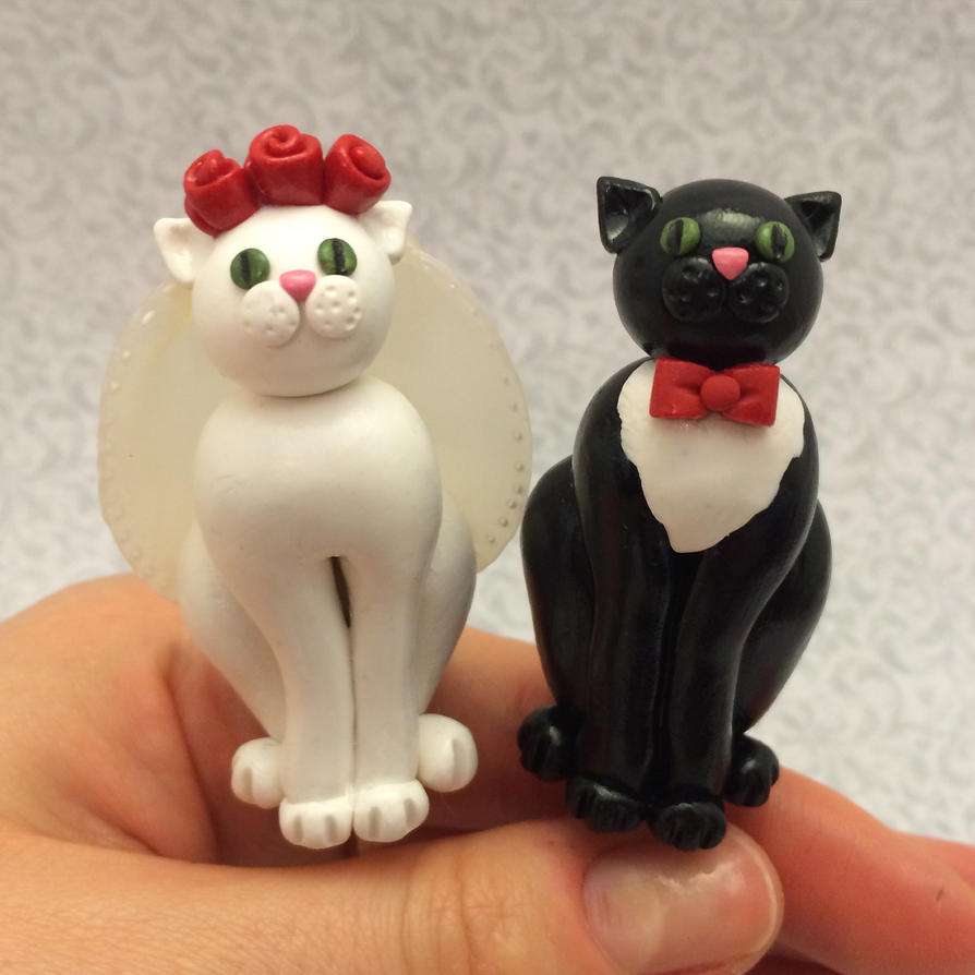 Cat wedding cake toppers by noellewis on deviantart cat wedding cake toppers by noellewis junglespirit Images