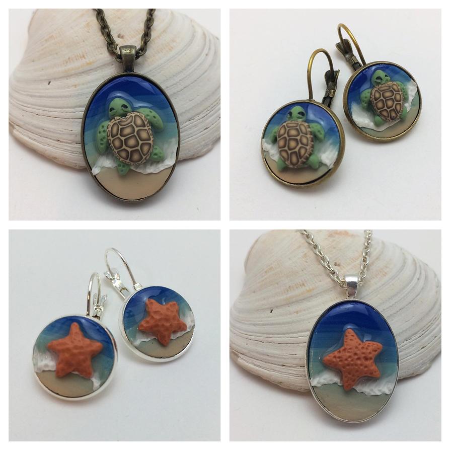 Sea Turtle  Sea Star Beach Jewelry Sets by noellewis