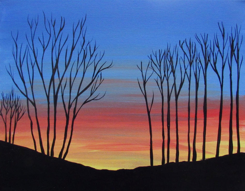 Mountain Sunset with Trees by noellewis
