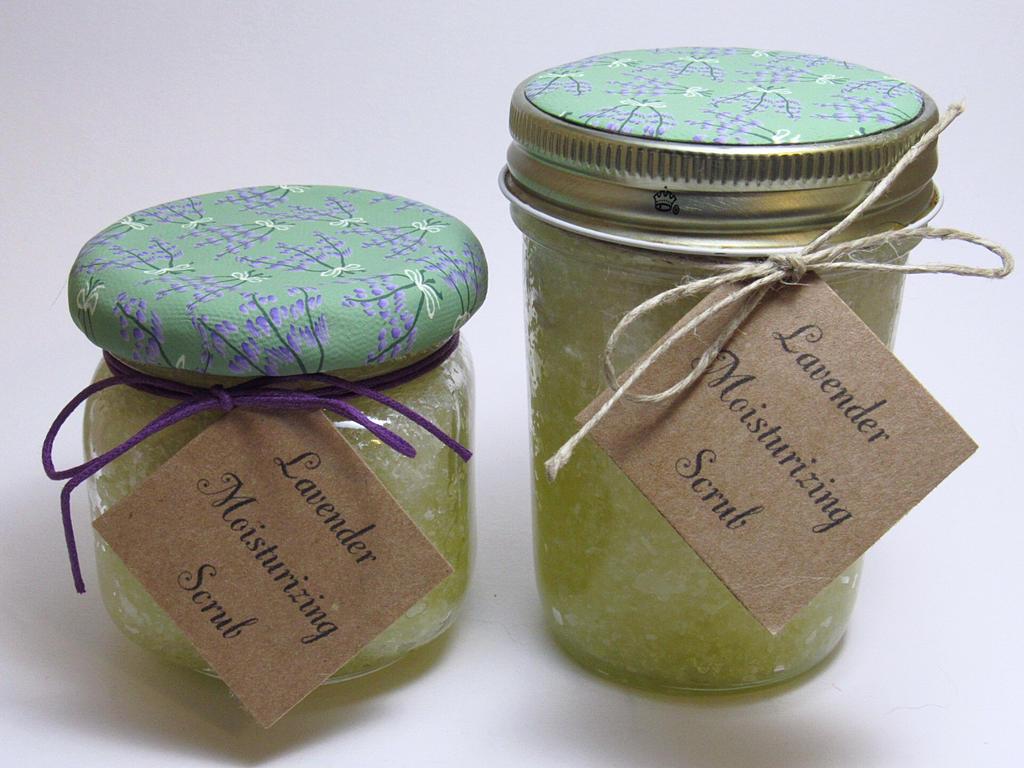 Decorated Lavender Scrub Jars by noellewis