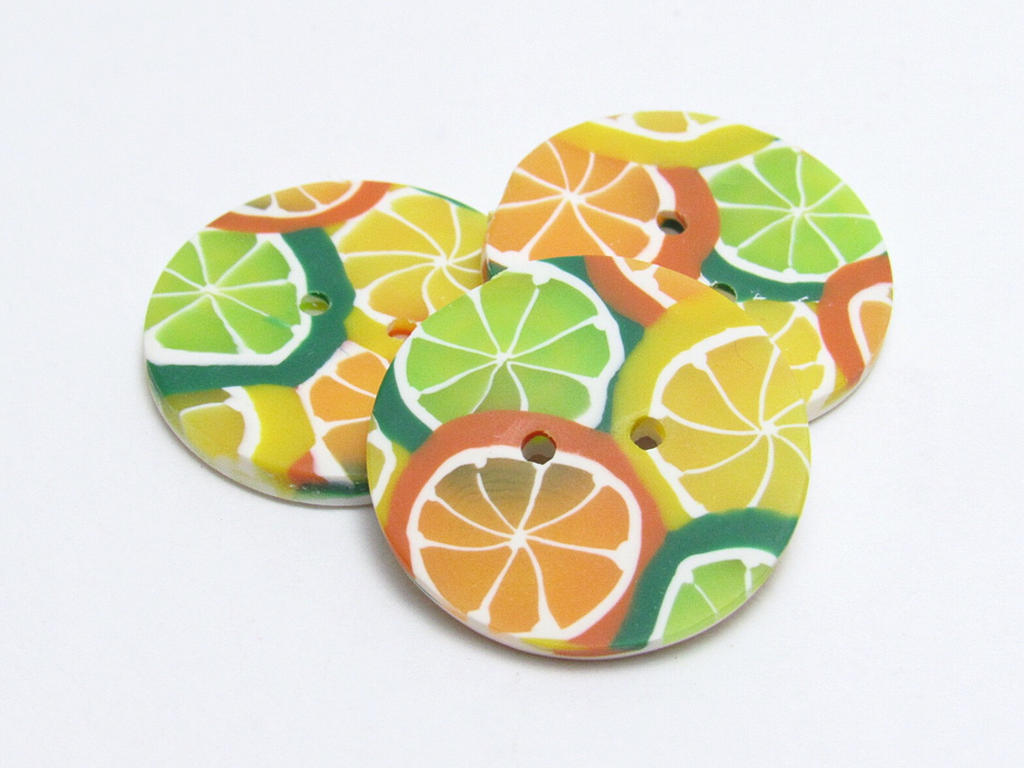 Citrus Fruit Buttons by noellewis