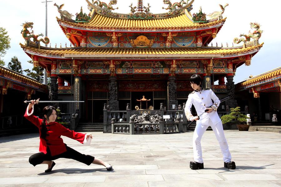 Hetalia Asia5 Yao vs Kiku ? by azuooooo