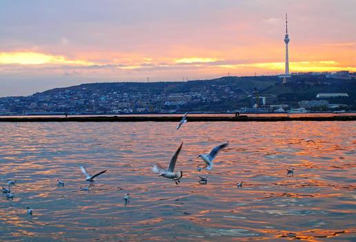 A Sunset over the Caspian Sea