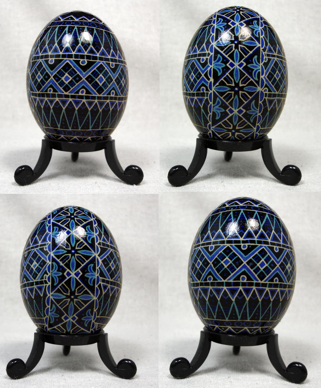 Blue and White Geometric Design on Duck Egg by Natakuaya