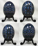 Blue and White Geometric Design on Duck Egg