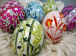 Etched Floral Designs on Duck Eggs