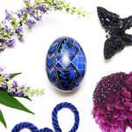 Blue and Purple Geometric Pattern on Duck Eggshell