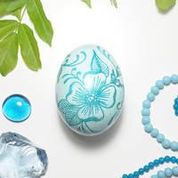 Blue Flowers on Chicken Eggshell