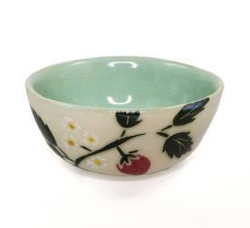 Strawberry Bowl with Mint Green Glaze