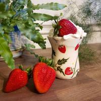 Strawberry Cup with Creamy White Interior Glaze