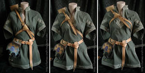 Art Nouveau leather archer set