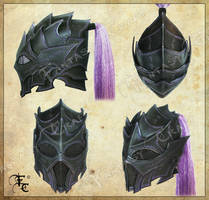Drow or Dark Elf leather helmet by Fantasy-Craft