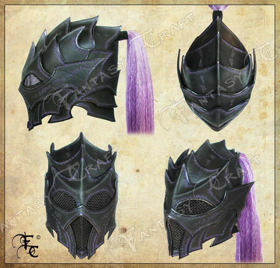 Drow or Dark Elf leather helmet by Fantasy-Craft