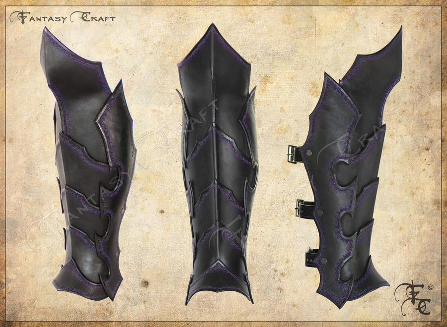 Character Bios Expanded - Page 3 Drow_or_dark_elf_leather_greaves_by_i_tavaron_i-d5k1dbk