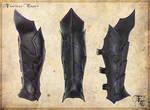 Drow or Dark Elf leather greaves