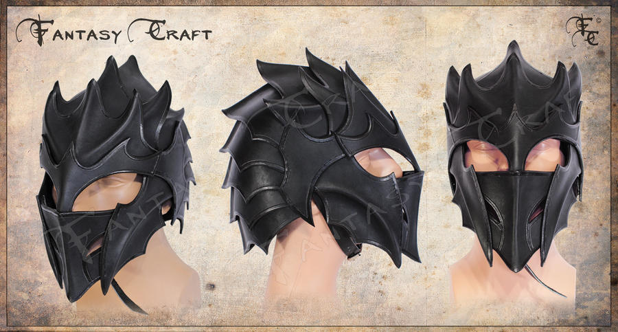 Dragon, drow, druchii, dark elf leather helmet by Fantasy-Craft