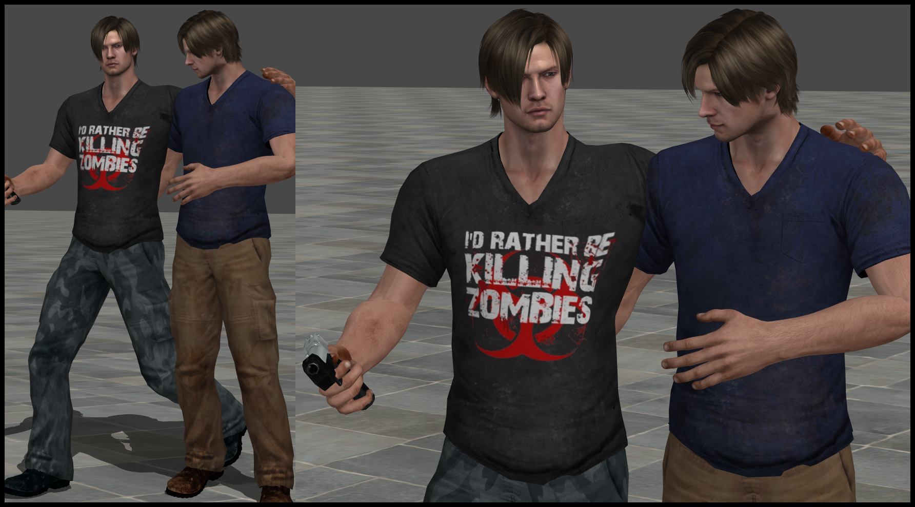 mod claire para leon - Página 3 Leon_killing_zombies__my_first_official_meshmod___by_bakasolo-d6sattr