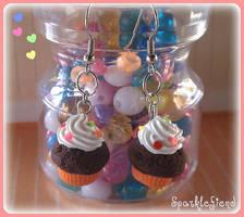 Chocolate Cupcake Earrings by Sparklefiend