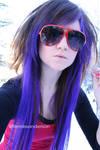 purple hair, red shades