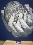 Hands Holding Baby Cutout Painting