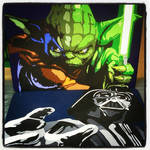 Tv tray paintings of Yoda and Darth Vader