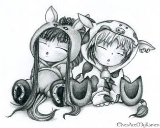 Fruits Basket, Haru and Rin by ElvesAteMyRamen