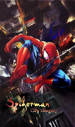 Spiderman City Slinging by Cajjun