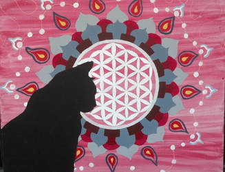 Flower of life and kitteh by SashiFly