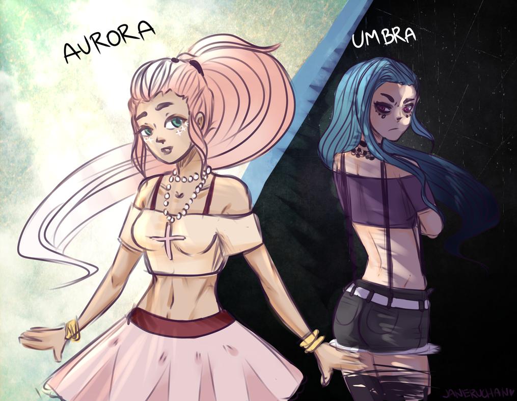 THE POLES. Umbra and Aurora. by JaneruchanArt
