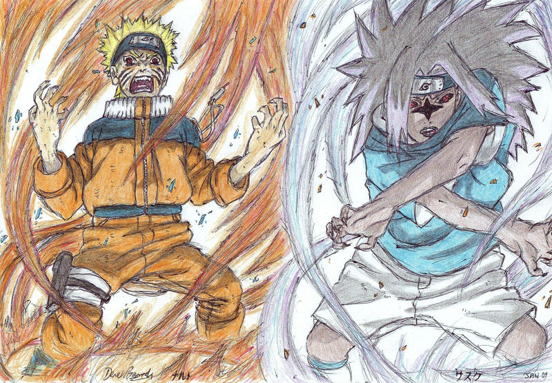 Naruto vs Sasuke by delboysb91