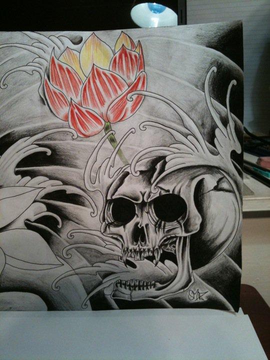 Skull And Lotus Flower By Tattoosteve Uk On Deviantart