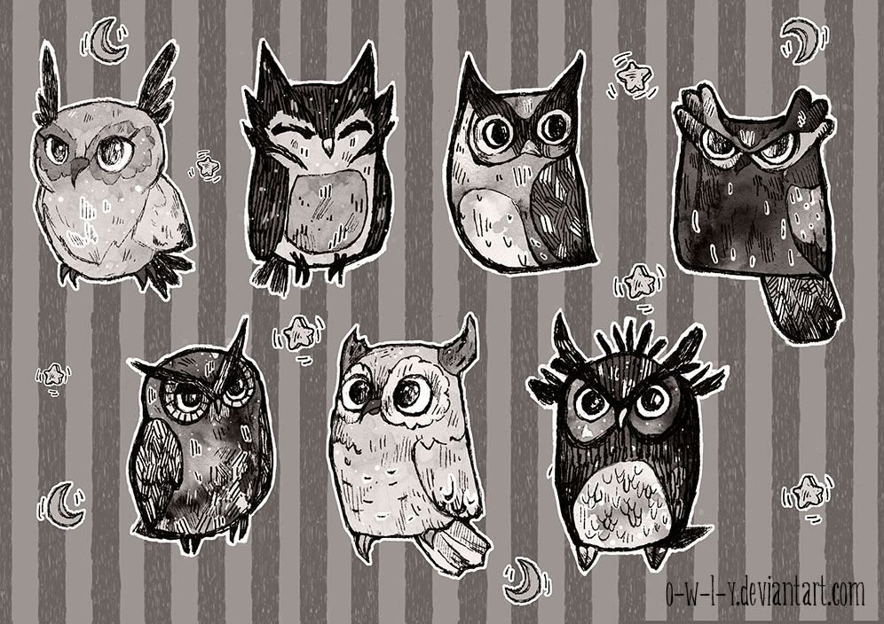 Inky owls by viowl