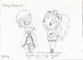 Sayaka and Kyoko for Halloween by Yuujelly