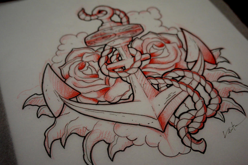 Anchor and rose tattoo by red lima on deviantart for Anchor rose tattoo