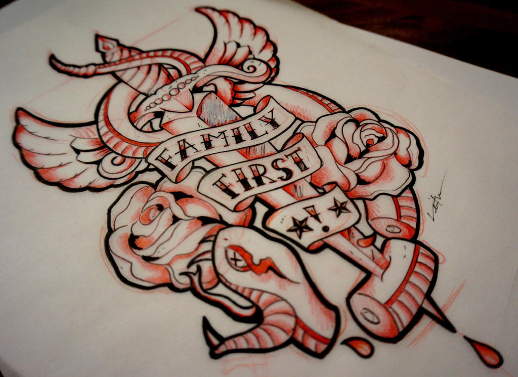 Family first no snakes in the grass by red lima on for Family first tattoo designs