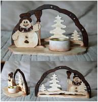 Snowman ~ Candleholder v2 by GinkgoWerkstatt