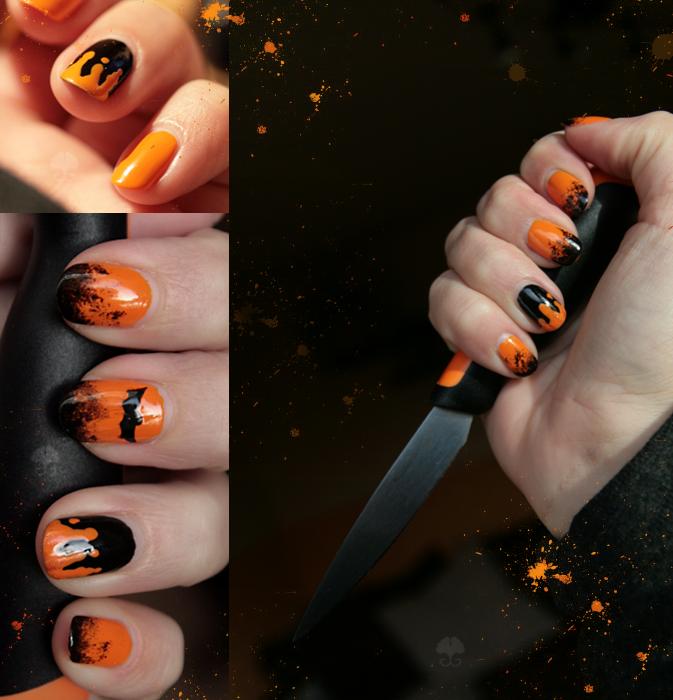 Nail Art: Orange Bat by ginkgografix on DeviantArt