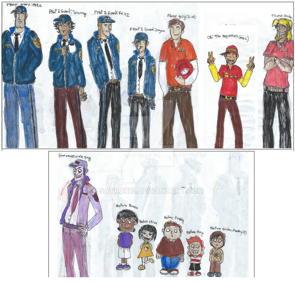 Fnaf 1 3 characters by satrox13 on deviantart