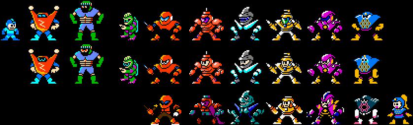 8-bit Mega Man DOS Robot Masters by geno2925