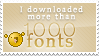 More than 1000 fonts stamp
