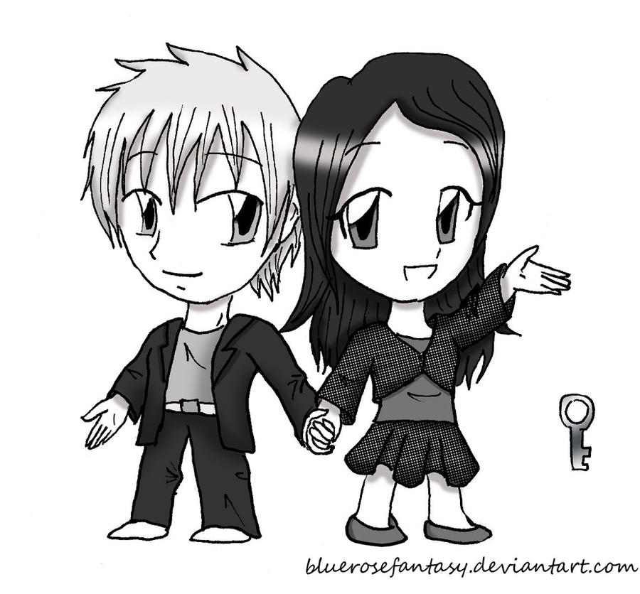 Commission: Mathias and Marine chibis by bluerosefantasy
